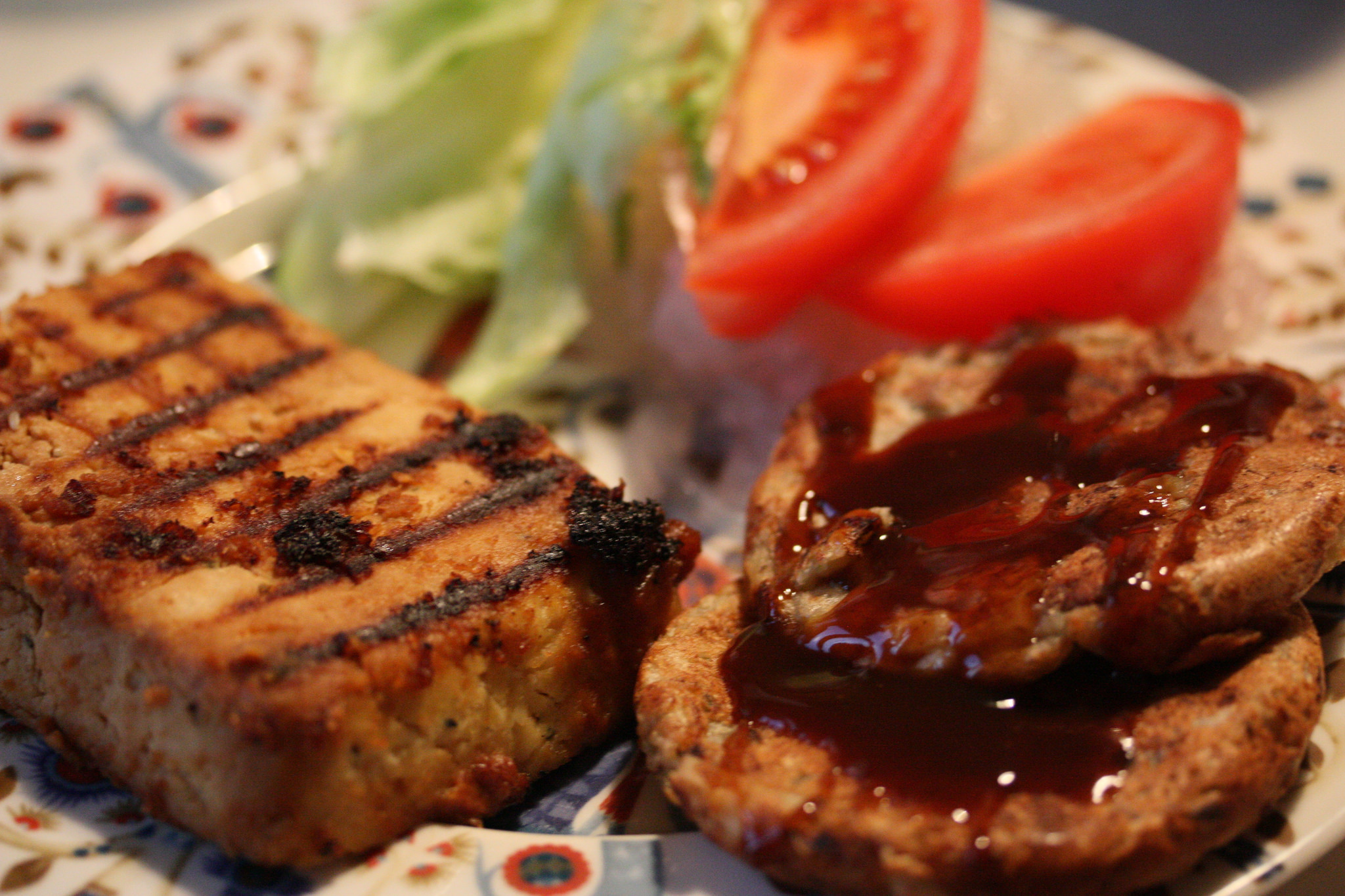 Tofu steak with miso marinade and miniature okonomiyaki.
